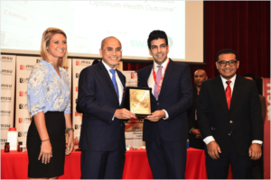 Photo credit: MSU. mClinica's head of partnerships and alliances, Lindsay Nickel (left) and Farouk Meralli (third from right) giving memento plaque to MSU President and Professor Tan Sri Dato' Wira Dr Mohd Shukri Ab Yajid (second from right) and Associate Professor Dr Mohd Fadli Mohd Asmani (right)