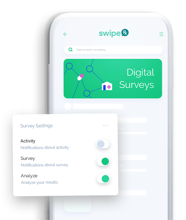 mClinica Pharmacy Solution SwipeRx mobile app features digital survey
